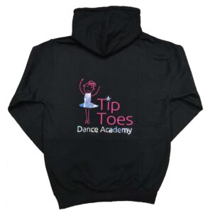 tip toes dance black zipped hoodie back