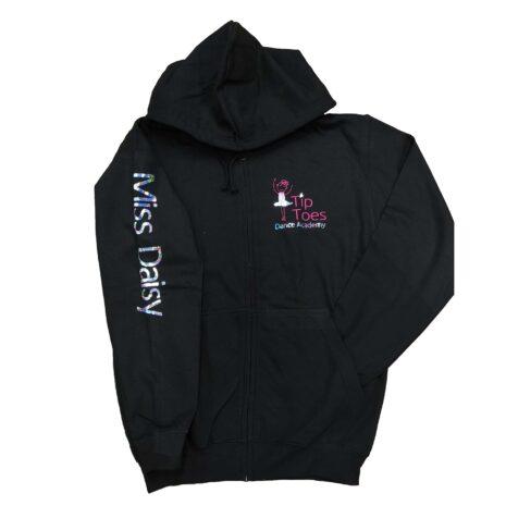 tip toes dance black zipped hoodie front