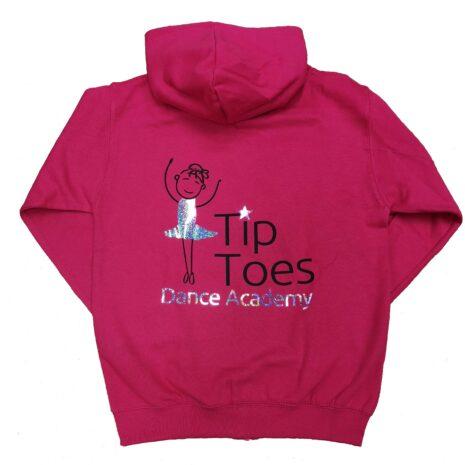 tip toes dance fuchsia zipped hoodie back