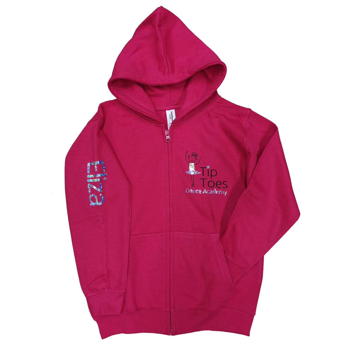 tip toes dance fuchsia zipped hoodie front